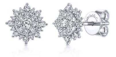 Gabriel Fashion Diamond Sunburst Stud Earrings